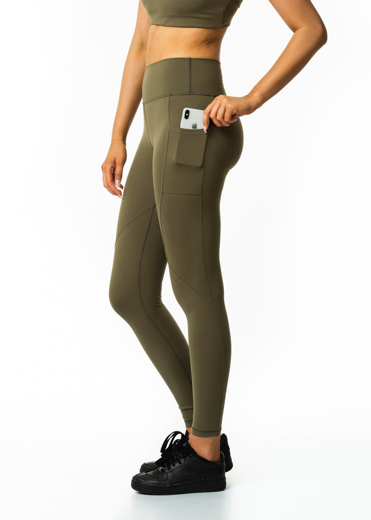 Activewear nz online, women's Intense pocket leggings in khaki, high waist design, sweat wicking fabric