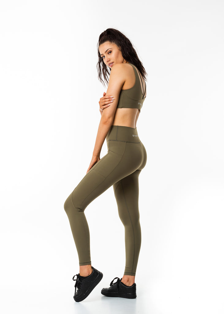 Women's gym wear, full length pocket leggings, squat proof khaki colour