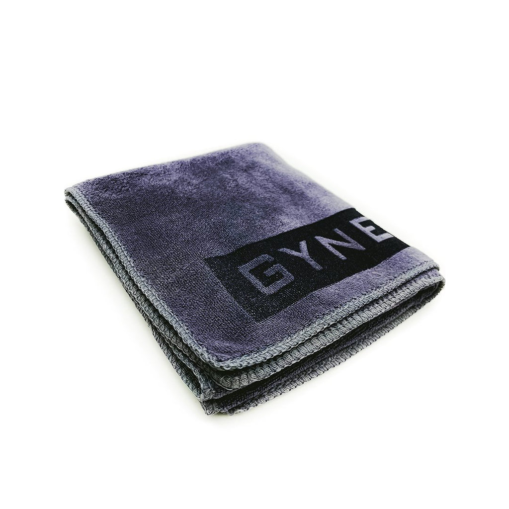 Gym sweat towel online nz, grey colour, microfibre material, laser etched gynetique logo, size medium