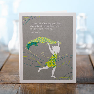 Positively Green Greeting Card - Girl running Birthday
