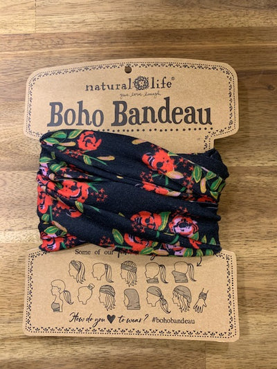 Natural Life - Boho Bandeau (Black Blooms)