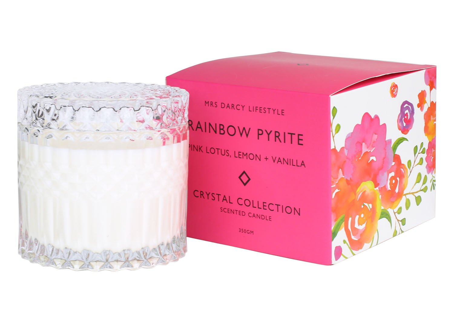 Mrs Darcy Scented Candle - Rainbow Pyrite (Pink Lotus, Lemon and Vanilla)