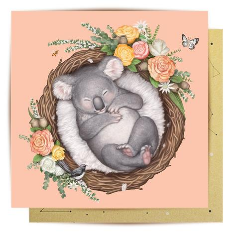 La La Land Greeting Card - Nested Baby Koala