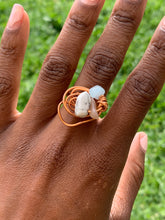 Load image into Gallery viewer, Aquamarine, Peach Moon Stone , Howlite Copper Ring