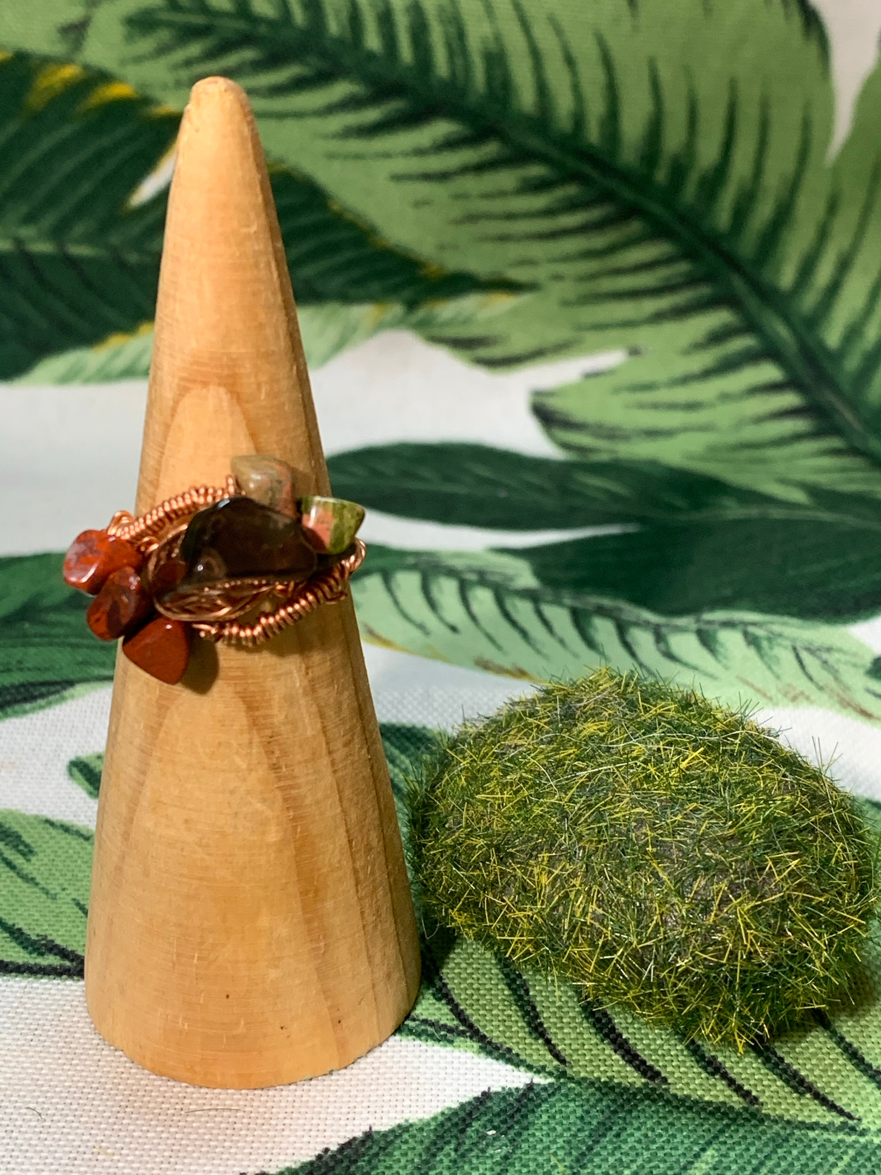 Smokey Quartz, Unakite, Red Jasper Ring Size 8