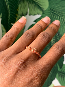 "Copper Ring ""The Diamond Double""  Size 9"