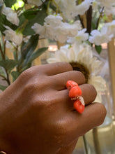 Load image into Gallery viewer, Coral & Rose Quartz Ring Size 10