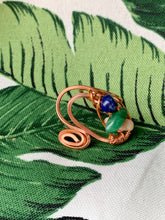 Load image into Gallery viewer, Copper Ring Lapis Lazuli, Moss agate , Peach Moonstone Size 6 1/2