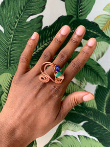 Copper Ring Lapis Lazuli, Moss agate , Peach Moonstone Size 6 1/2
