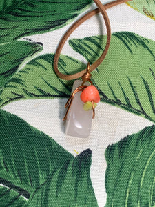 Rose quartz, Serpentine, Coral Pendant