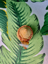 Load image into Gallery viewer, Aquamarine & Tigers Eye Copper Ring size 7 71/2