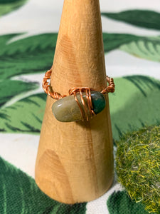 Moss Agate Copper Ring Size 9