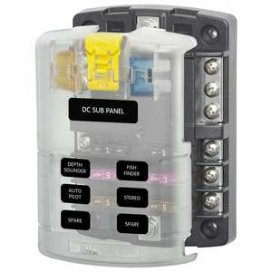 BLUE SEA SYSTEMS ST Blade Fuse Block, 6 Circuits with Negative Bus and Cover