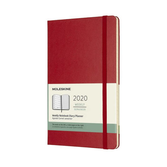 Moleskine 2020 Weekly Planner, 12M, Large, Scarlet Red, Hard Cover (5 x 8.25)
