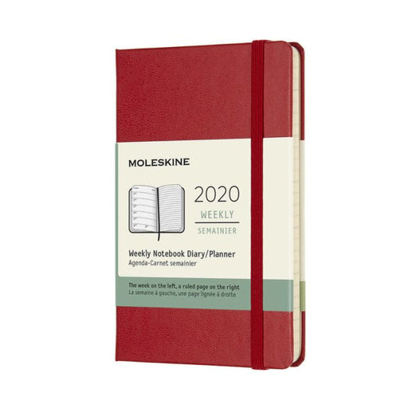 2020 Moleskine 12 Month Planner - Weekly Notebook, Hard Cover, Scarlet Red, Pocket
