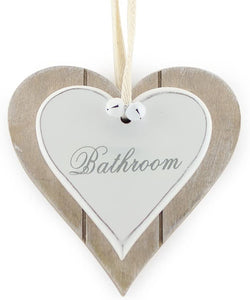 Wooden Sign for Bathroom - Perfect Hanging White Heart for Home Bathroom Door Accessory