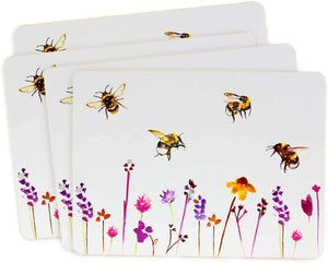 Heat Resistant Cork Back Table Place Mats Set of 4 Pretty Water Colour Busy Bees Design by Jennifer Rose Gallery