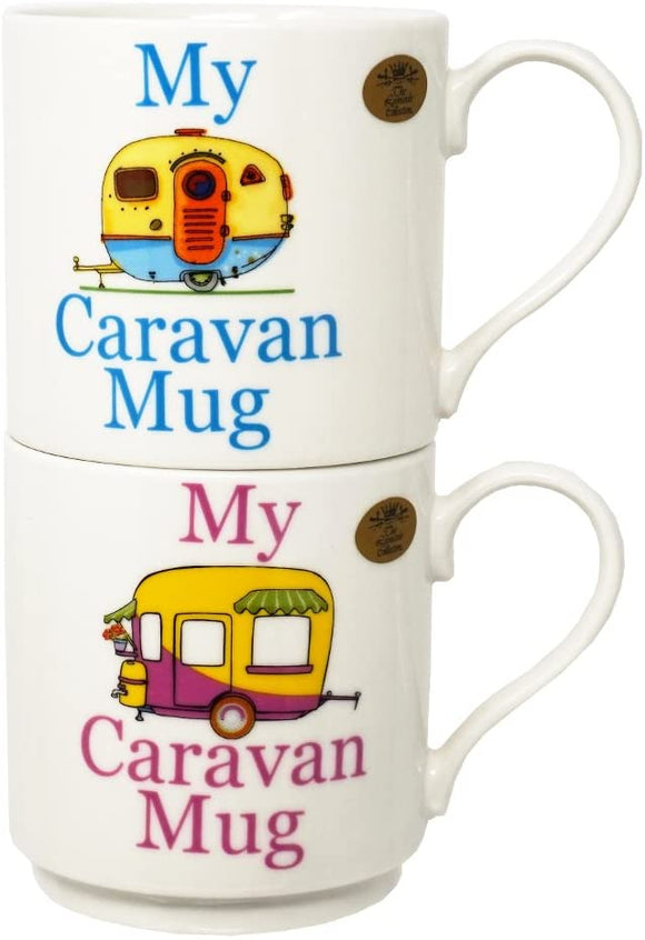 Set 2 Stacking Mugs - My Caravan Mug (Blue and Pink)