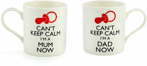 Can't Keep Calm I'm a Mum/Dad Now Funny China Mug - Perfect Mummy Gift Idea for Expectant or New Parents - Apt for Baby Shower, Mother's/Father's Day, Christmas, Birthday (Mum & Dad)