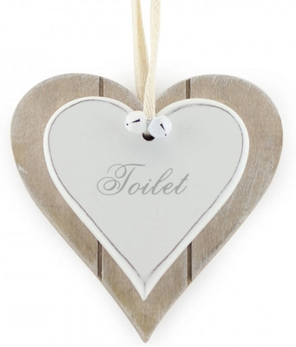 Shabby Chic Wooden Signs for Toilet - Perfect Hanging White Heart for Home or Offcie Toilet Door Accessories