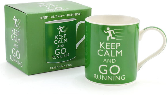Premium Keep Calm and Go Running Mug - Perfect Ceramic Fine China Mug for National or Marathon Runner, Running Club Members - Perfect Addition alongside Running Gear or Accessory for Men and Women