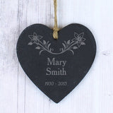 Personalised In Loving Memory Floral Slate Heart Decoration