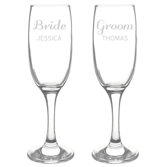 Personalised Classic Pair of Flutes for Couple