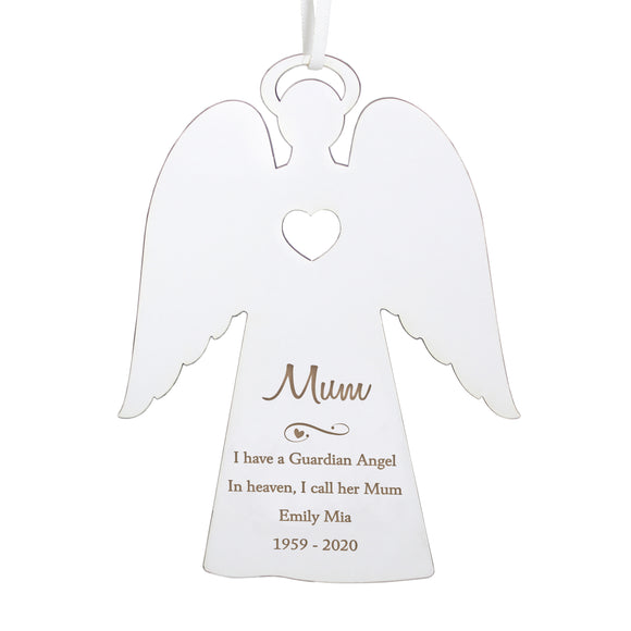 Personalised Message White Wooden Angel