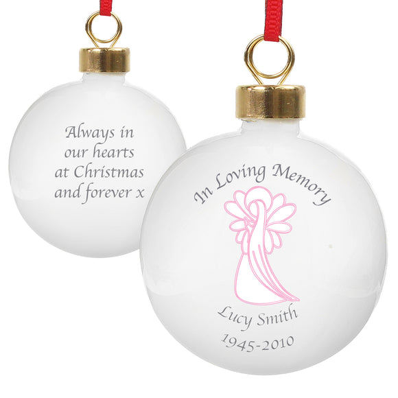 Personalised In Loving Memory Pink Angel Bauble