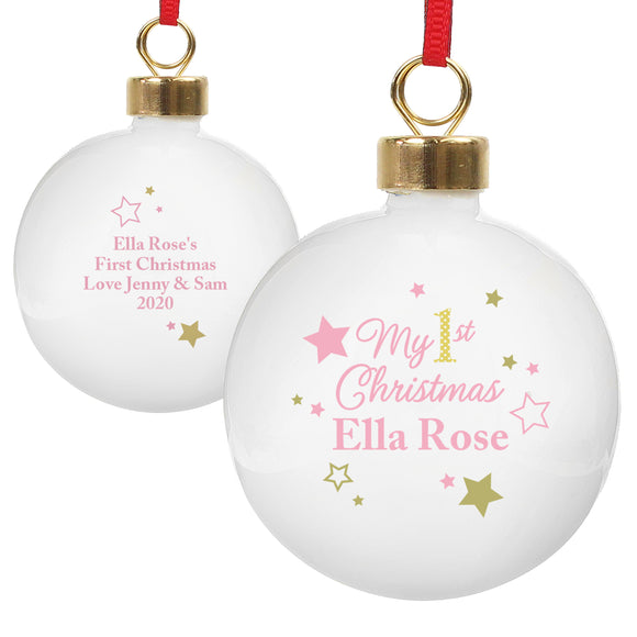 Personalised Gold & Pink Stars My 1st Christmas Bauble