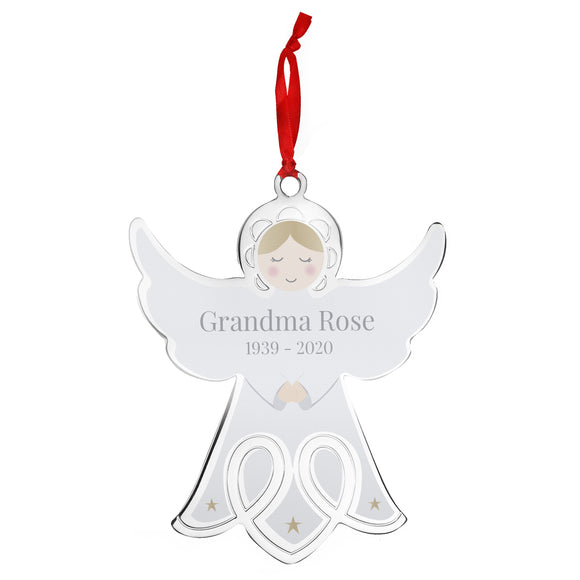 Personalised Memorial Angel Metal Decoration