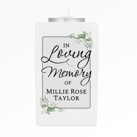 Personalised In Loving Memory Ceramic Tea Light Candle Holder