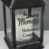 Personalised In Loving Memory Rustic Black Lantern