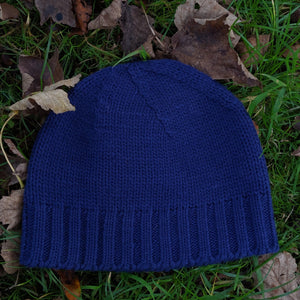 Handknitted blue merino wool beanie hat