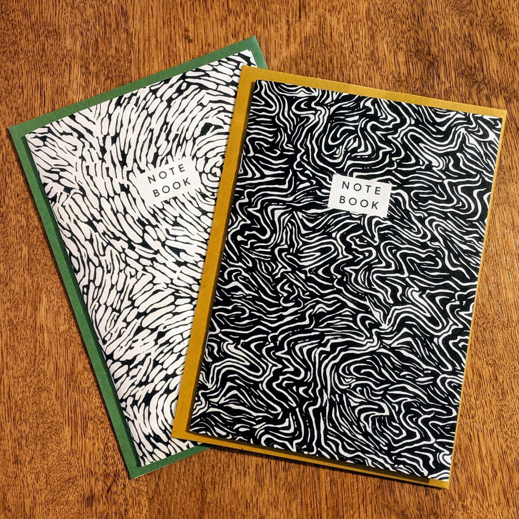 Two recycled paper notebooks