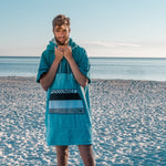 Bamboo and cotton towelling changing robe - Medium (blue/aqua)