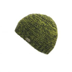 Merino wool fisherman beanie hat - black/green