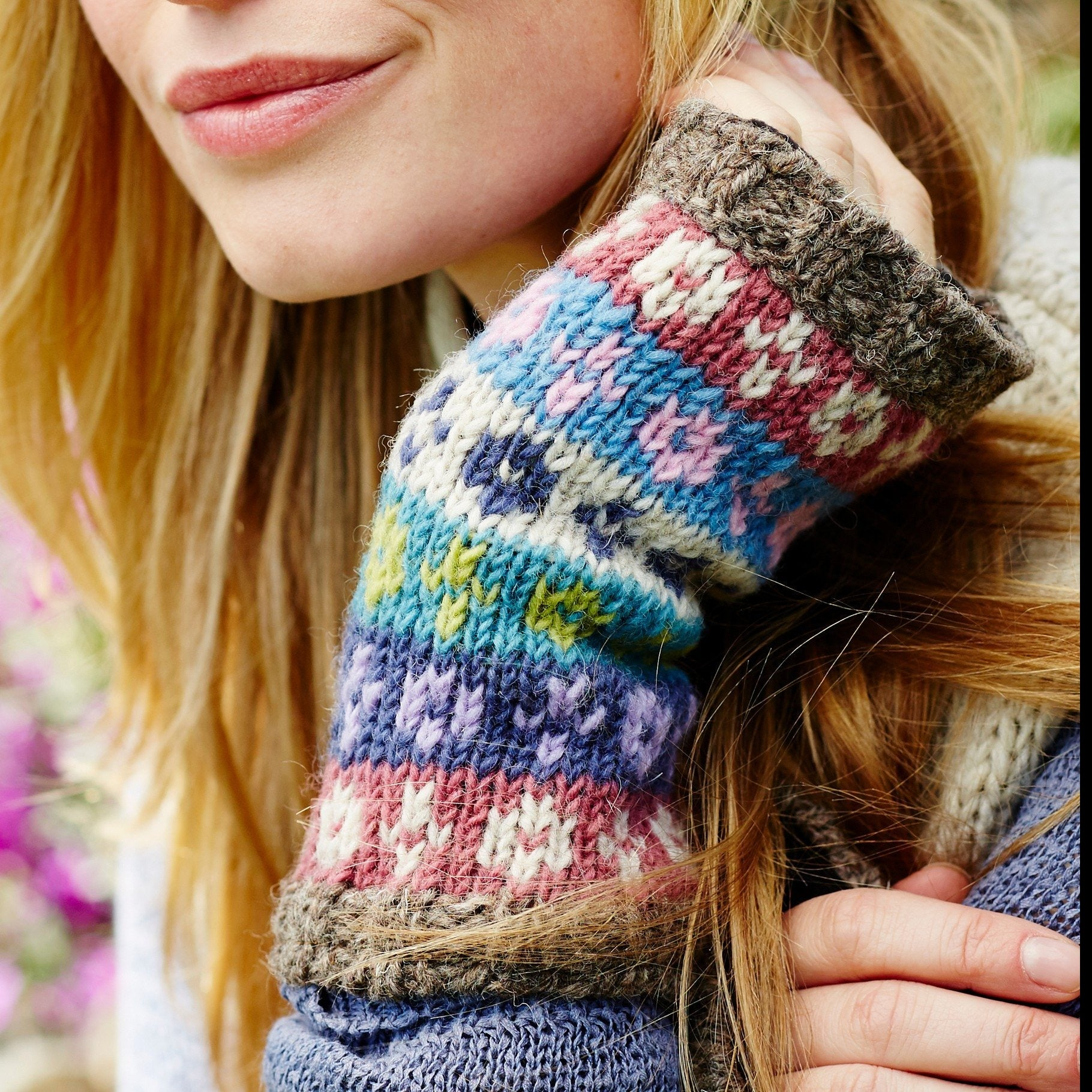 Handknitted fair trade wool handwarmers