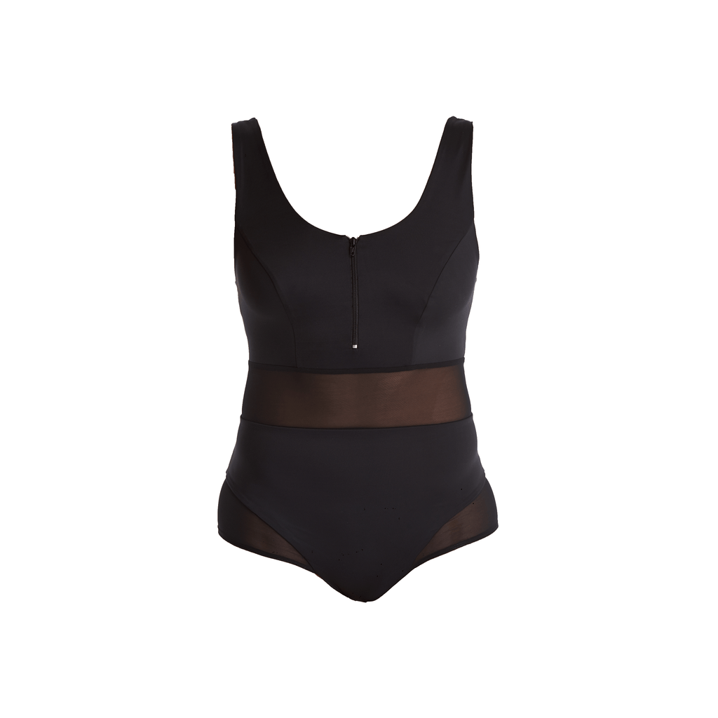 Black Monroe classic round neck swimsuit in recycled nylon fabric by Deakin and Blue