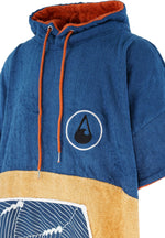 Bamboo and cotton towelling changing robe - Large (Blue/Mustard)