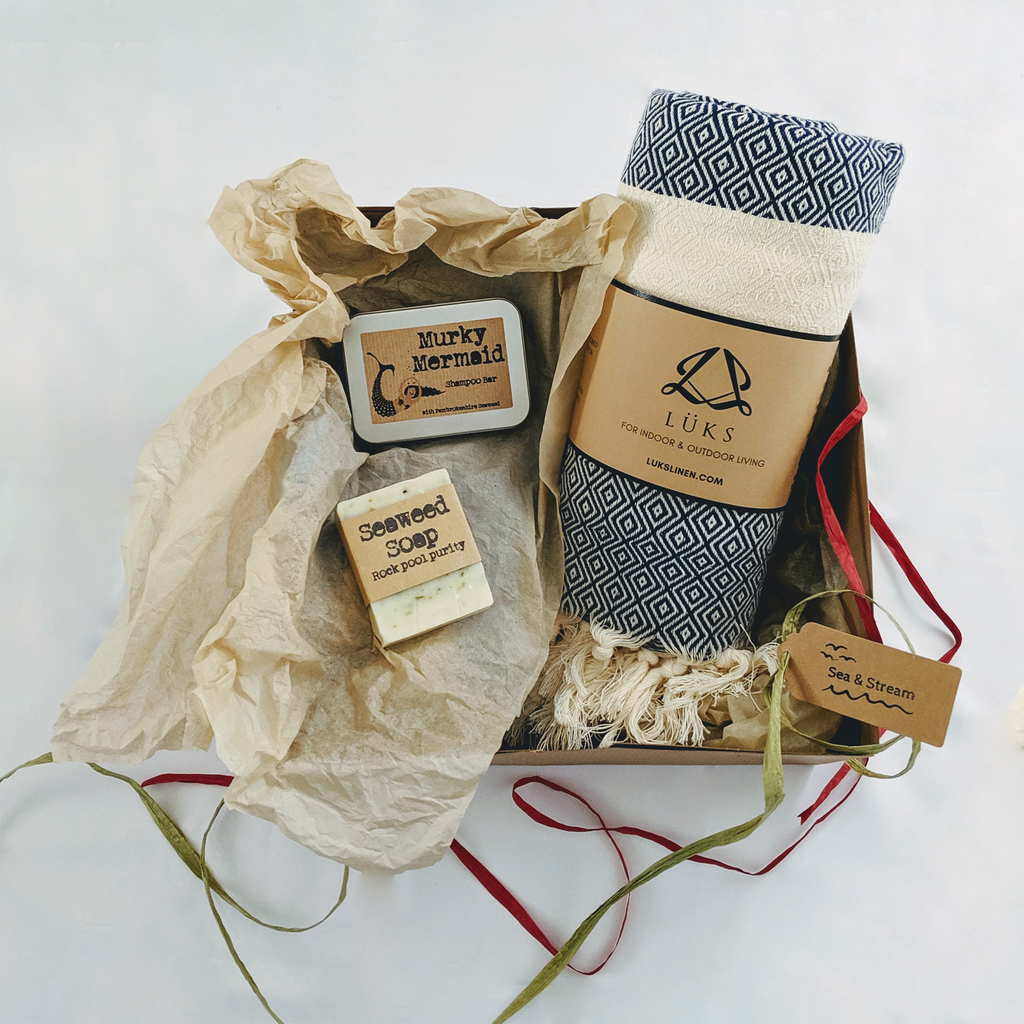 Gift set for wild swimmer. Organic Turkish towel, handmade soaps and shampoo bar. Plastic free.