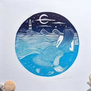 Handmade Lino Print 'Stargazing Mermaid'