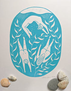 Lino print Underwater Bliss, wild swimming by The Black Pug Press