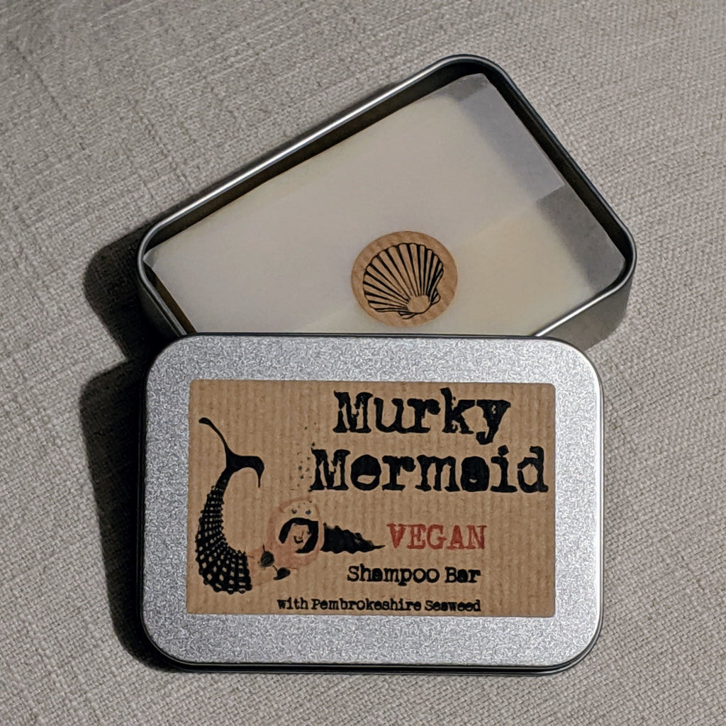 Vegan Shampoo bar in a tin - Murky Mermaid.  Handmade in Pembrokeshire.