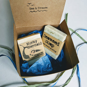Murky mermaid shampoo bar and seaweed soap gift set