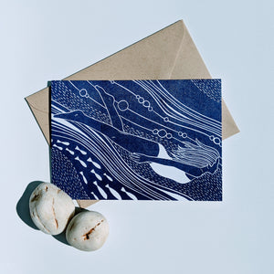 With the Flow greetings card by Flotsam Prints