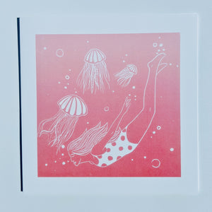 Swimming with Jellyfish greetings card for sea swimmers in pink and white