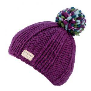 Chunky hand knitted purple bobble hat