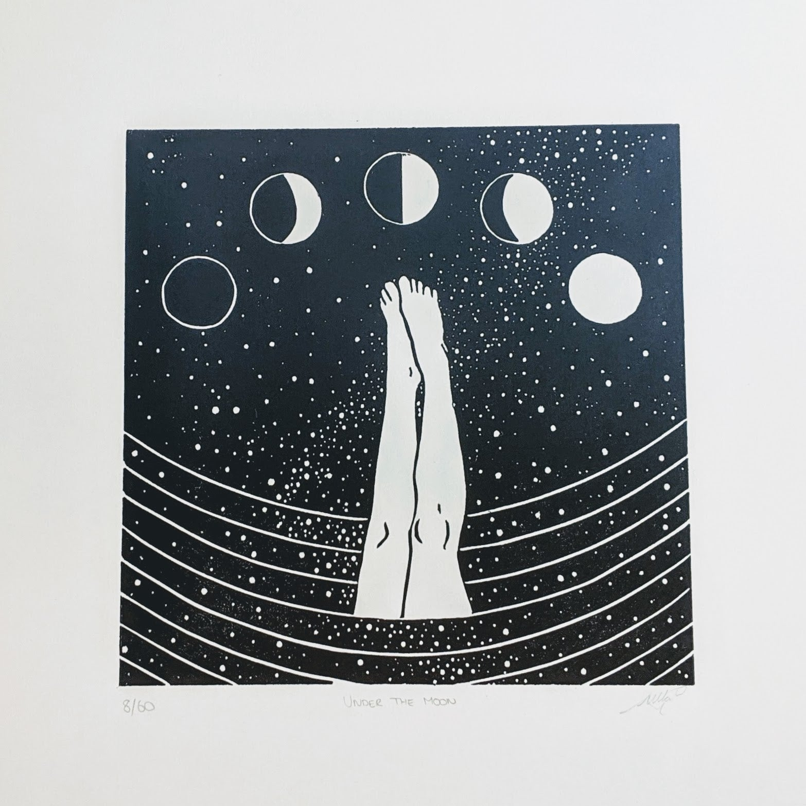Wild swimming full moon lino print