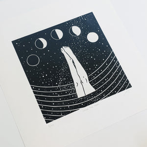 Full moon lino print of a wild swimmer by Flotsam Prints